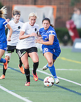 Allston, Massachusetts - August 10, 2014:  The Boston Breakers (blue) defeated the Portland Thorns FC (white/black), 2-0 in a National Women's Soccer League Elite (NWSL) match at Harvard Stadium.