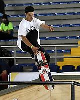 BOGOTA - COLOMBIA - 12 - 08 - 2017: Luis Jose Tolentino, Skater de Republica Dominicana, durante competencia en el Primer Campeonato Panamericano de Skateboarding, que se realiza en el Palacio de los Deportes en la Ciudad de Bogota. / Luis Jose Tolentino,  Skater from Republica Dominicana, during a competitions in the First Pan American Championship of Skateboarding, that takes place in the Palace of Sports in the City of Bogota. Photo: VizzorImage / Luis Ramirez / Staff.