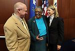 Former Sen. Bernice Mathews, center, talks with Sens. Joe Hardy, R-Boulder City, and Barbara Cegavske, R-Las Vegas, before a ceremony inducting Mathews into the Nevada Senate Hall of Fame at the Legislative Building in Carson City, Nev., on Wednesday, April 17, 2013. .Photo by Cathleen Allison