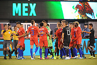 EAST RUTHERFORD, NJ - SEPTEMBER 7: USMNT argues with Mexico National Team after a foul during a game between Mexico and USMNT at MetLife Stadium on September 6, 2019 in East Rutherford, New Jersey.