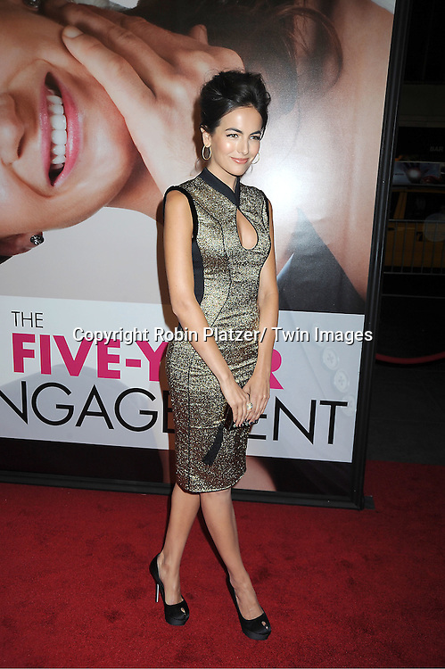 """Camilla Belle in Jason Wu gold dress arrives to The World Premiere of """" The Five-Year Engagement"""" at the opening night of The Tribeca Film Festival at the Ziegfeld Theatre in New York City on .April 18, 2012."""