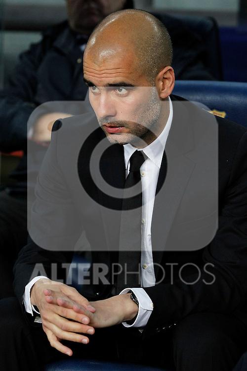 FC Barcelona's coach coach Pep Guardiola during UEFA Champions League match.May 3,2011.(ALTERPHOTOS/Acero)
