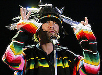 LISBON,PORTUGAL :English JAMIROQUAI performs during the Rock in Rio Lisboa music festival at Bela Vista Park  in Lisbon 26 May 2006.