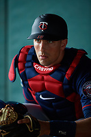 Minnesota Twins catcher Jason Castro (15) in the bullpen during a Spring Training practice on February 21, 2018 at Hammond Stadium at CenturyLink Sports Complex in Fort Myers, Florida.  (Mike Janes/Four Seam Images)