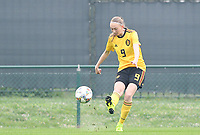 20190409 - TUBIZE , Belgium : Belgian Lisa Petry pictured during a women soccer game between the under 19 teams of Belgium and Poland. This is the Third and final game in their elite round qualification for the European Championship in Schotland 2019. The Belgian national women's soccer team is called the Red Flames, on the 9 th of April in Tubize. PHOTO DAVID CATRY | Sportpix.be