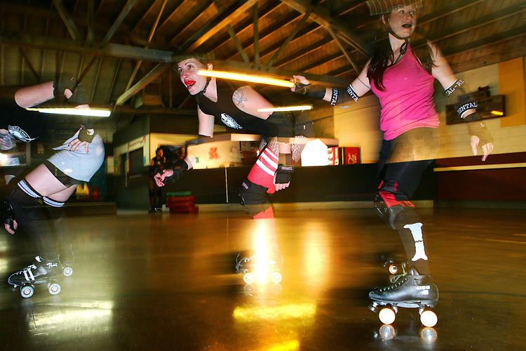 February 19, 2008; Santa Cruz, CA, USA; Female athletes skate during Santa Cruz Rollergirls practice in Santa Cruz, CA. Photo by: Phillip Carter