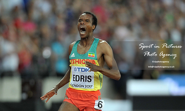Muktar EDRIS (ETH) looks shocked as he wins the mens 5000m final. IAAF world athletics championships. London Olympic stadium. Queen Elizabeth Olympic park. Stratford. London. UK. 12/08/2017. ~ MANDATORY CREDIT Garry Bowden/SIPPA - NO UNAUTHORISED USE - +44 7837 394578