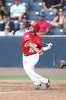 Kevin Garcia (30) of the Vancouver Canadians bats during a game against the Eugene Emeralds at Nat Bailey Stadium on July 22, 2015 in Vancouver, British Columbia. Vancouver defeated Eugene, 4-2. (Larry Goren/Four Seam Images)