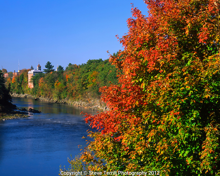 Fall colors along Kennebec River in Skowhegan Maine