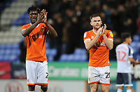 Blackpool's Oliver Turton (right) and Armand Gnanduillet applaud the fans<br /> <br /> Photographer Kevin Barnes/CameraSport<br /> <br /> The EFL Sky Bet League One - Bolton Wanderers v Blackpool - Monday 7th October 2019 - University of Bolton Stadium - Bolton<br /> <br /> World Copyright © 2019 CameraSport. All rights reserved. 43 Linden Ave. Countesthorpe. Leicester. England. LE8 5PG - Tel: +44 (0) 116 277 4147 - admin@camerasport.com - www.camerasport.com
