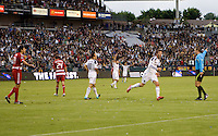 LA Galaxy midfielder David Beckham hammers home a goal and celebrates. The LA Galaxy defeated FC Dallas 2-1 at Home Depot Center stadium in Carson, California on Sunday October 24, 2010.