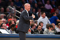 NEW YORK, NY - Thursday March 9, 2017: Seton Hall head coach Kevin Willard directs his team against Marquette as the two schools square off in the Quarterfinals of the Big East Tournament at Madison Square Garden.