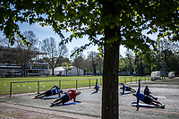 16th April 2020, Karlsruher, Germany; 2nd League: Training session of Karlsruher SC during the corona crisis, April 16, 2020