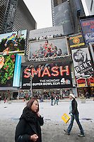 "Advertising on a billboard for the NBC television program ""Smash"" in Times Square on Sunday, January 22, 2012. The new program is about the production of a new Broadway musical. The show is from Executive Producer Steven Spielberg (© Richard B. Levine)"