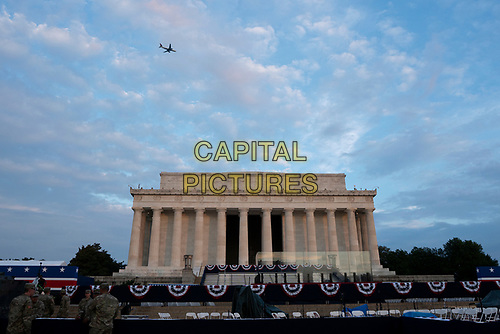 """The Lincoln Memorial in Washington D.C., where later in the day United States President Donald J. President Donald J. President Donald J. Trump will deliver remarks at his """"Salute to America"""" during an Independence Day celebration on July 4, 2019.<br /> CAP/MPI/CNP<br /> ©CNP/MPI/Capital Pictures"""