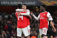 Pierre-Emerick Aubameyang celebrates scoring Arsenal's opening goal with Gabriel Martinelli and Bukayo Saka during Arsenal vs Eintracht Frankfurt, UEFA Europa League Football at the Emirates Stadium on 28th November 2019