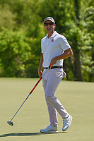 Adam Scott (AUS) after sinking his putt on 9 during round 1 of the AT&amp;T Byron Nelson, Trinity Forest Golf Club, at Dallas, Texas, USA. 5/17/2018.<br /> Picture: Golffile | Ken Murray<br /> <br /> <br /> All photo usage must carry mandatory copyright credit (&copy; Golffile | Ken Murray)