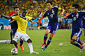 (L to R) <br /> Yuto Nagatomo (JPN), <br /> Adrian Ramos (COL), <br /> Makoto Hasebe, <br /> Yasuyuki Konno (JPN), <br /> JUNE 24, 2014 - Football /Soccer : <br /> 2014 FIFA World Cup Brazil <br /> Group Match -Group C- <br /> between Japan 1-4 Colombia <br /> at Arena Pantanal, Cuiaba, Brazil. <br /> (Photo by YUTAKA/AFLO SPORT)