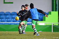 The home team Waltham Abbey warm up during Waltham Abbey vs Bracknell Town, Bostik League South Central Division Football at Capershotts on 9th February 2019