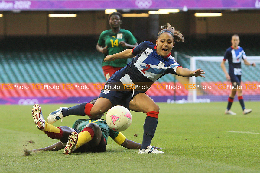 Alex Scott in action for GB - Great Britain Women vs Cameroon - Womens Olympic Football Tournament London 2012 Group E at the Millenium Stadium, Cardiff, Wales - 28/07/12 - MANDATORY CREDIT: Gavin Ellis/SHEKICKS/TGSPHOTO - Self billing applies where appropriate - 0845 094 6026 - contact@tgsphoto.co.uk - NO UNPAID USE.