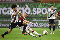 Ante Rebic of AC Milan scores a goal during the Serie A football match between AC Milan and Bologna FC at stadio Giuseppe Meazza in Milano ( Italy ), July 18th, 2020. Play resumes behind closed doors following the outbreak of the coronavirus disease. <br /> Photo Image Sport / Insidefoto