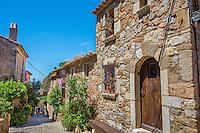 Spain, Costa Brava, Catalonia, Tossa de Mar. Walls of old town,