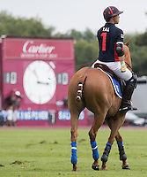 Apichet Srivaddhanaprabha (King Power) looks on with the scores level at 10-10 during the Cartier Queens Cup Final match between King Power Foxes and Dubai Polo Team at the Guards Polo Club, Smith's Lawn, Windsor, England on 14 June 2015. Photo by Andy Rowland.