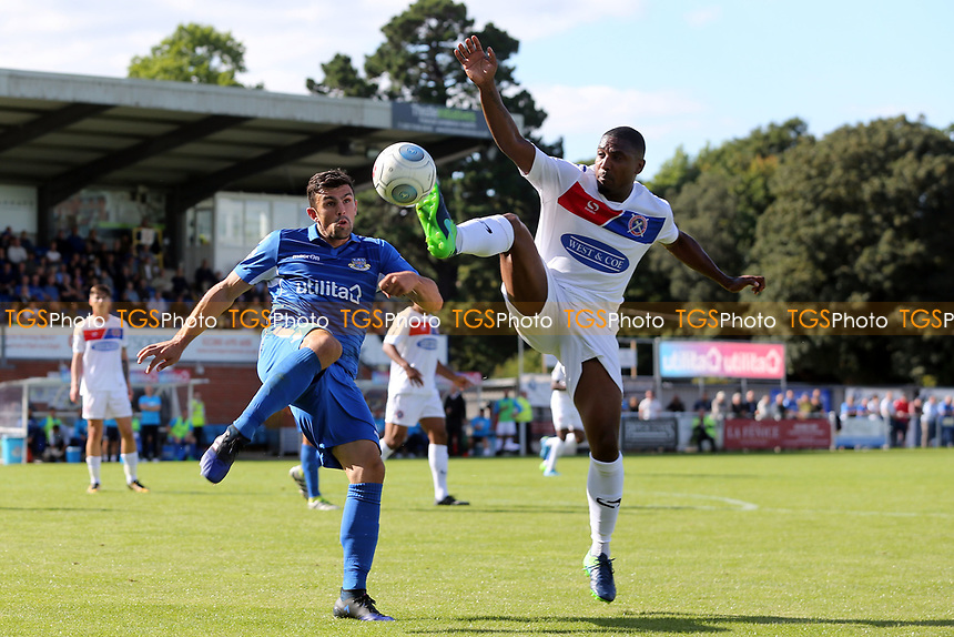 Andre Boucaud of Dagenham and Danny Hollands of Eastleigh during Eastleigh vs Dagenham & Redbridge, Vanarama National League Football at the Silverlake Stadium on 12th August 2017