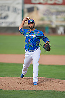 Miguel Urena (55) of the Ogden Raptors delivers a pitch to the plate against the Billings Mustangs at Lindquist Field on August 13, 2017 in Ogden, Utah. The Raptors defeated the Mustangs 6-5.  (Stephen Smith/Four Seam Images)