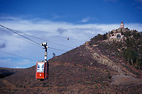 The teleferico and cerro de La Bufa in the city of Zacatecas, Mexico. This Swiss-built  cable car runs from Cerro de La Bufa over the city to Cerro del Grillo.