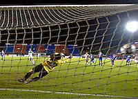 USA scores a goal at the 2010 CONCACAF Women's World Cup Qualifying tournament held at Estadio Quintana Roo in Cancun, Mexico.