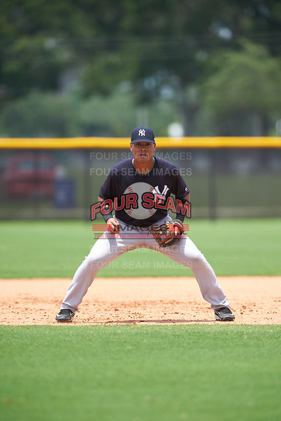 GCL Yankees East third baseman Jesus Graterol (6) during the second game of a doubleheader against the GCL Yankees West on July 19, 2017 at the Yankees Minor League Complex in Tampa, Florida.  GCL Yankees West defeated the GCL Yankees East 3-1.  (Mike Janes/Four Seam Images)