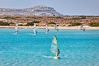 Windsurfers in Makrys Gialos of Karpathos, Greece