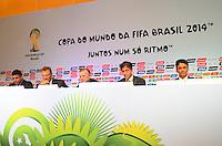 RIO DE JANEIRO, RJ, 30 AGOSTO 2012-FIFA-ENTREVISTA COLETIVA- O secretário-geral da FIFA, Jerome Valcke, o presidente do COL, Jose Maria Marin, os membros do Conselho de Administracao do COL, Bebeto e Ronaldo, e o secretario executivo do Ministerio do Esporte, Luis Fernandes na entrevista coletiva realizada pelo Comitê Organizador Local (COL) da Copa do Mundo da FIFA 2014, posterior à reunião de Diretoria do COL, no dia 30 de agosto de 2012, no Rio de Janeiro, no Hotel Windsor, na Barra da Tijuca, zona oeste do Rio de Janeiro.(FOTO:MARCELO FONSECA/BRAZIL PHOTO PRESS).