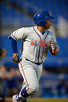 St. Lucie Mets third baseman Jhoan Urena (24) runs to first base during a game against the Dunedin Blue Jays on April 19, 2017 at Florida Auto Exchange Stadium in Dunedin, Florida.  Dunedin defeated St. Lucie 9-1.  (Mike Janes/Four Seam Images)