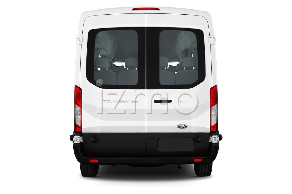 Straight rear view of 2016 Ford Transit 350-XLT-Med-Roof 4 Door Passenger Van Rear View  stock images
