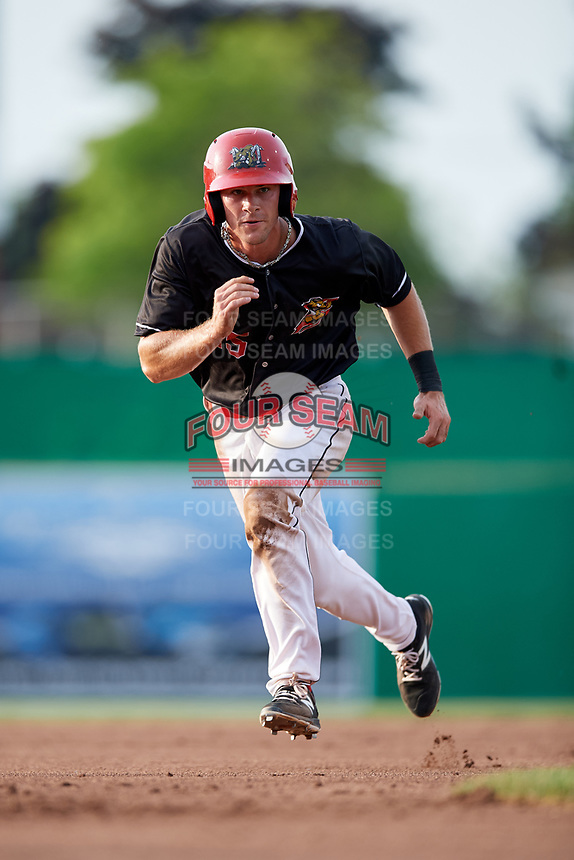 Batavia Muckdogs left fielder Matt Brooks (15) runs the bases during a game against the West Virginia Black Bears on July 2, 2018 at Dwyer Stadium in Batavia, New York.  West Virginia defeated Batavia 3-1.  (Mike Janes/Four Seam Images)