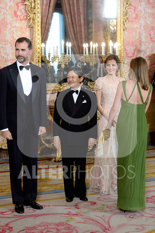 Princes Felipe and Letizia of Spain and the Imperial Highness the Crown Prince of Japan Hiro-no-miya Naruhito Shinno attend the honor dinner in the Royal Palace.June 12,2013. (ALTERPHOTOS/Pool)