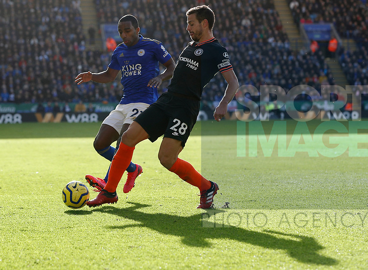Ricardo Pereira of Leicester City challenges Cesar Azpilicueta of Chelsea during the Premier League match at the King Power Stadium, Leicester. Picture date: 1st February 2020. Picture credit should read: Darren Staples/Sportimage