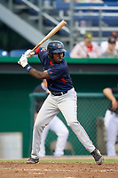 Lowell Spinners third baseman Xavier LeGrant (15) at bat during game against the Batavia Muckdogs on July 14, 2018 at Dwyer Stadium in Batavia, New York.  Lowell defeated Batavia 8-4.  (Mike Janes/Four Seam Images)