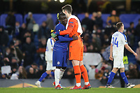 N'Golo Kante and Kepa Arrizabalaga of Chelsea celebrate their 3-0 victory at the final whistle during Chelsea vs Dynamo Kiev, UEFA Europa League Football at Stamford Bridge on 7th March 2019