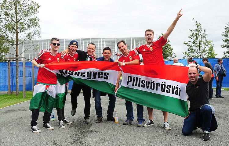 Hungary fans enjoy the pre-match build up<br /> <br /> Photographer Kevin Barnes/CameraSport<br /> <br /> International Football - 2016 UEFA European Championship -  Group F - Austria v Hungary - Tuesday 14th June 2016 - Stade de Bordeaux, Bordeaux, France<br /> <br /> World Copyright &copy; 2016 CameraSport. All rights reserved. 43 Linden Ave. Countesthorpe. Leicester. England. LE8 5PG - Tel: +44 (0) 116 277 4147 - admin@camerasport.com - www.camerasport.com