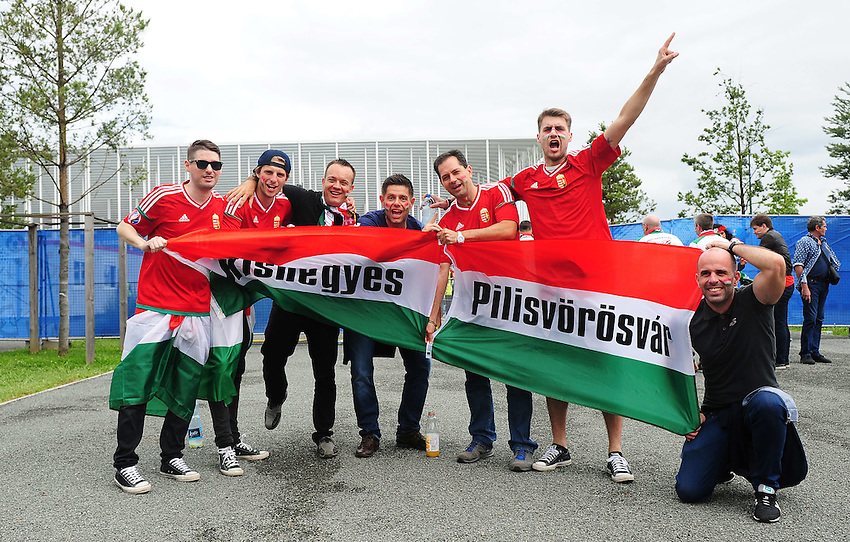 Hungary fans enjoy the pre-match build up<br /> <br /> Photographer Kevin Barnes/CameraSport<br /> <br /> International Football - 2016 UEFA European Championship -  Group F - Austria v Hungary - Tuesday 14th June 2016 - Stade de Bordeaux, Bordeaux, France<br /> <br /> World Copyright &copy; 2016 CameraSport. All rights reserved. 43 Linden Ave. Countesthorpe. Leicester. England. LE8 5PG - Tel: +44 (0) 116 277 4147 - admin@camerasport.com - www.camerasport.com