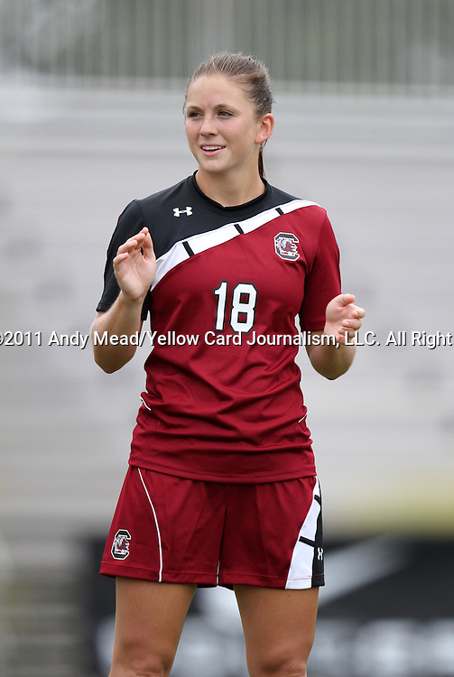 21 August 2011: South Carolina's Ali Glemser. The Duke University Blue Devils defeated the University of South Carolina Gamecocks 2-0 at Koskinen Stadium in Durham, North Carolina in an NCAA Women's Soccer game.