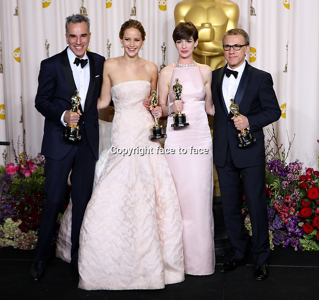 Daniel Day-Lewis, Jennifer Lawrence, Anne Hathaway and Christoph attending the 85th Academy Awards at the Hollywood and Highland Center in Hollywood, California, 24.02.2013...Credit: MediaPunch/face to face..- Germany, Austria, Switzerland, Eastern Europe, Australia, UK, USA, Taiwan, Singapore, China, Malaysia and Thailand rights only -