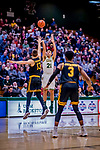 23 January 2019: University of Vermont Catamount Guard Everett Duncan, a Redshirt Junior from Evansville, IN, opens the scoring with 3 points against the UMBC Retrievers at Patrick Gymnasium in Burlington, Vermont. The Catamounts fell to the Retrievers 74-61 who handed the Cats their first America East loss of the season. Mandatory Credit: Ed Wolfstein Photo *** RAW (NEF) Image File Available ***