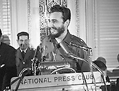 "Prime Minister Fidel Castro of Cuba addresses a National Press Club luncheon in Washington, DC on April 20, 1959.  His appearance came less than four months after he seized power in Cuba and he said he had no dictatorial ambitions.<br /> Credit: Benjamin E. ""Gene"" Forte / CNP"