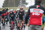 Frederik Frison (BEL) Lotto-Soudal and Vincenzo Nibali (ITA) Trek-Segafredo at the feed zone during Stage 2 of the 78th edition of Paris-Nice 2020, running 166.5km form Chevreuse to Chalette-sur-Loing, France. 9th March 2020.<br /> Picture: ASO/Fabien Boukla | Cyclefile<br /> All photos usage must carry mandatory copyright credit (© Cyclefile | ASO/Fabien Boukla)