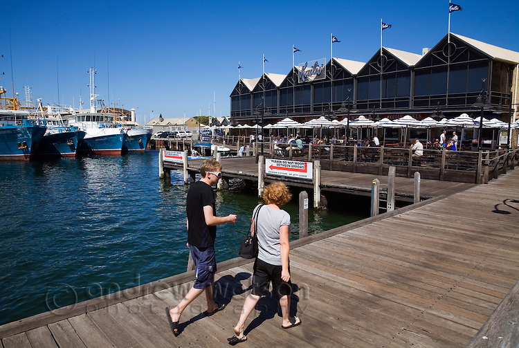 Fishing Boat Harbour - a popular spot for fresh seafood at the port town of Fremantle, Western Australia, AUSTRALIA.