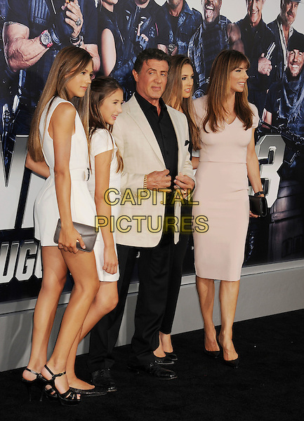HOLLYWOOD, CA- AUGUST 11: Actor Sylvester Stallone and family arrive at the Los Angeles premiere of 'The Expendables 3' at TCL Chinese Theatre on August 11, 2014 in Hollywood, California.<br /> CAP/ROT/TM<br /> &copy;Tony Michaels/Roth Stock/Capital Pictures